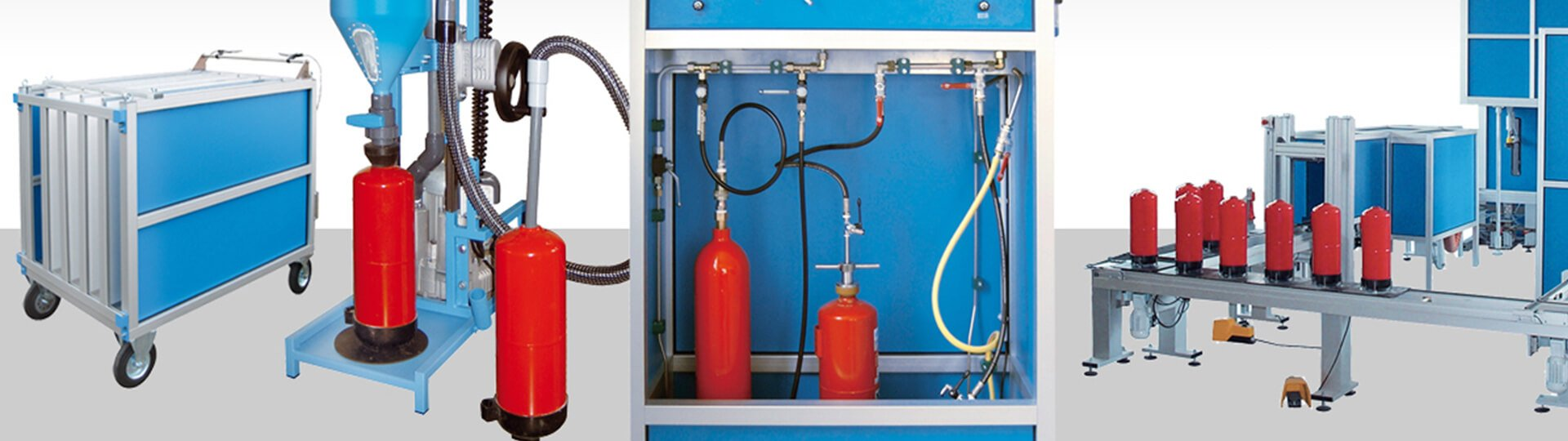 Filling, Testing, Drying, Screwing of Fire extinguishers